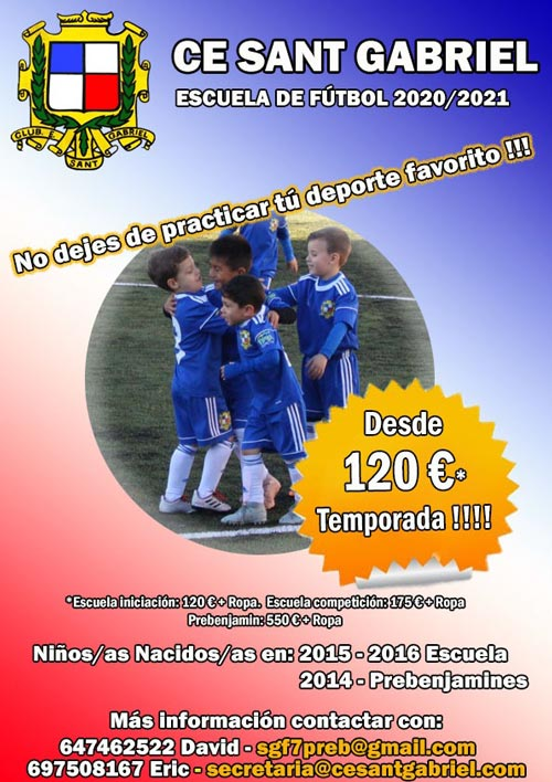 Escuela y Prebenjamines - CE Sant Gabriel - Temporada 2020/2021 - Fútbol femenino y masculino