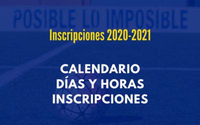 > Calendario inscripciones temporada 2020-2021